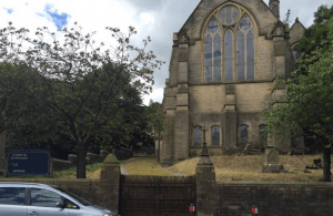 St. John the Evangelist Church, Bacup and war memorial – view from Burnley Road